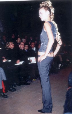 PKT4137 - 298081 KATE MOSS MODEL 1996 Kate's version - at hte Alexander McQueen Show. The supermodel was wearing a vest and low slung trousers known as bumsters at a show by British designer Alexander McQueen hailed as the up and coming star of the London fashion scene.